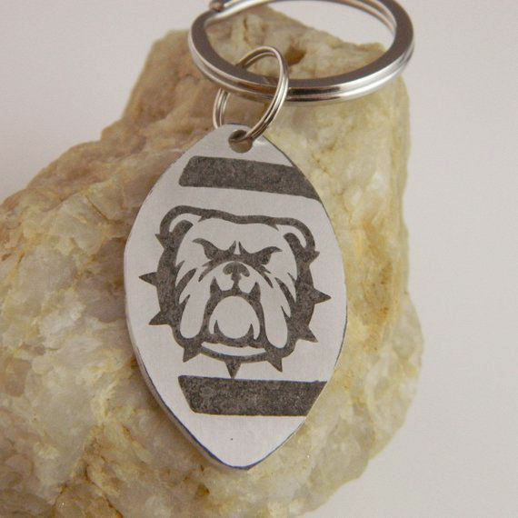 Bulldog Football Keychain