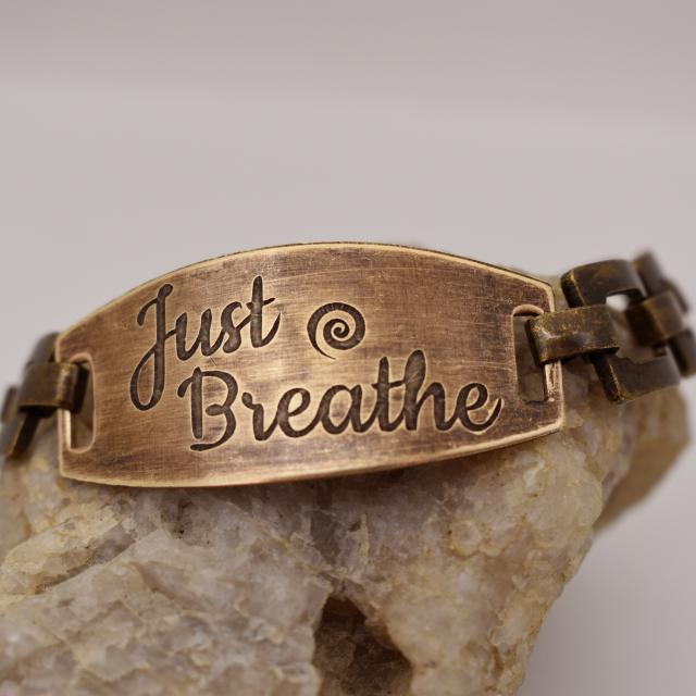 Just Breathe Etched Brass Link Bracelet