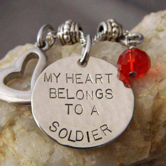 My Heart Belongs to a Soldier with Stainless Heart and Red Bead