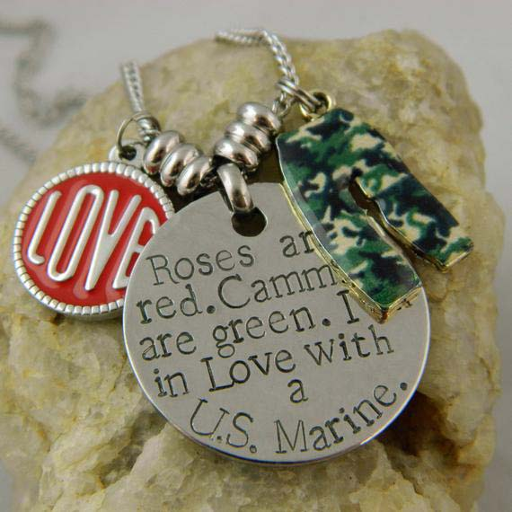 Roses are Red. Cammies are green. Marine Handstamped Necklace with Love Charm and Camo Pants
