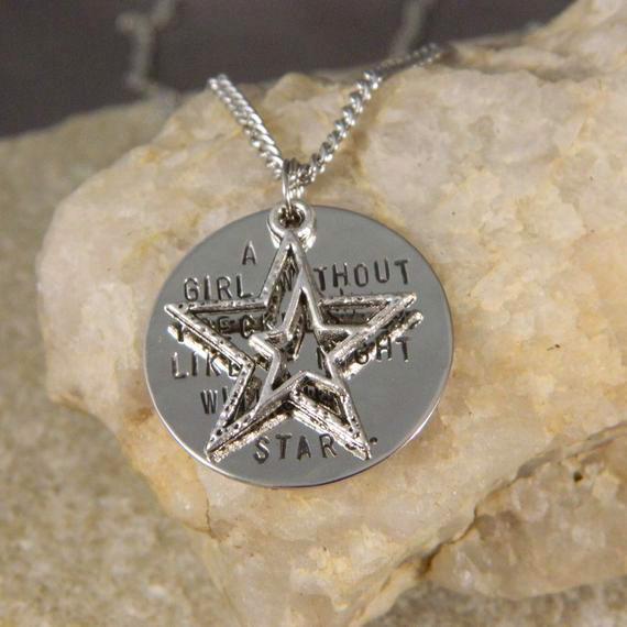 A girl without Freckles is like a Night without Stars Handstamped Necklace with Double Star