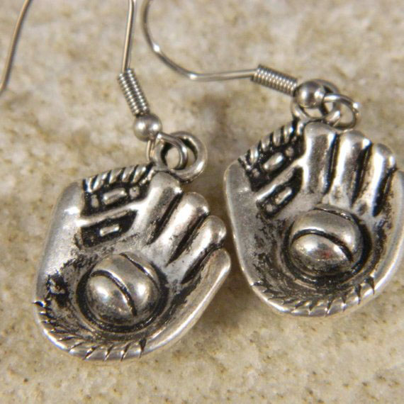 Baseball Glove Dangle Earrings