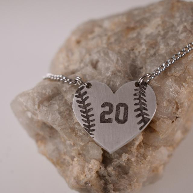 My Heart Belongs to a Baseball/Softball Player Custom Number Heart Necklace