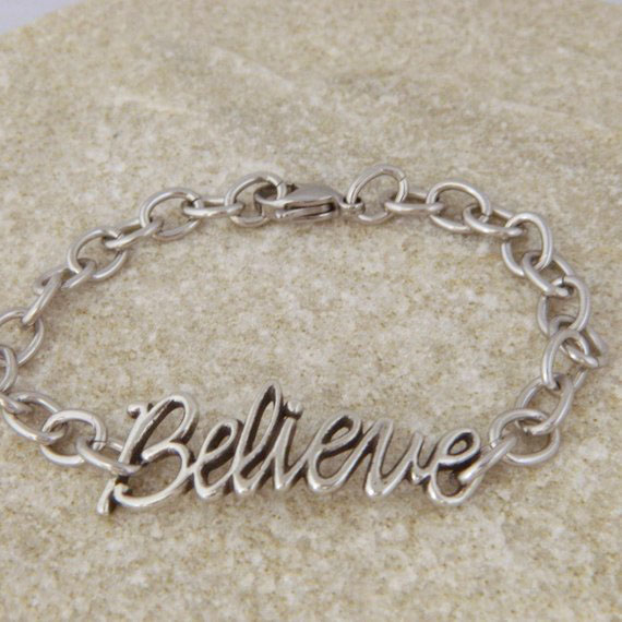 Believe Pewter and Stainless Steel Bracelet