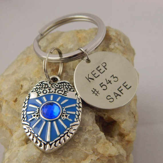 Blue Police Badge Keep Officer Safe Keychain