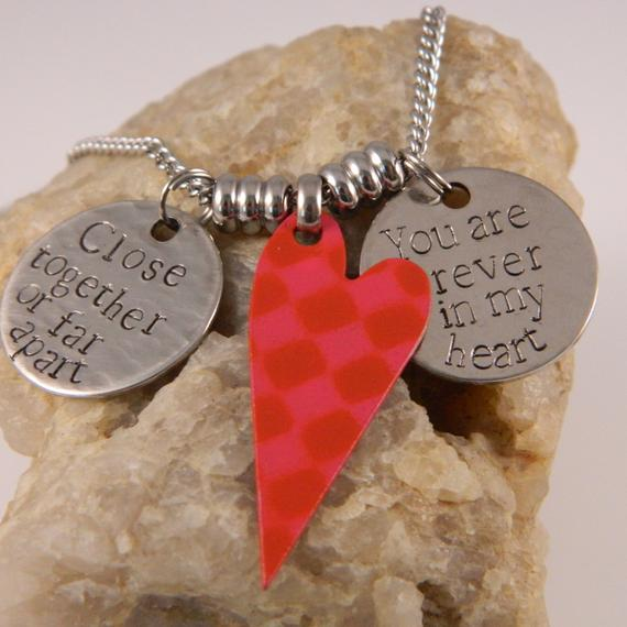 Close Together or Far apart you are Forever in my Heart Red checkered Heart Necklace