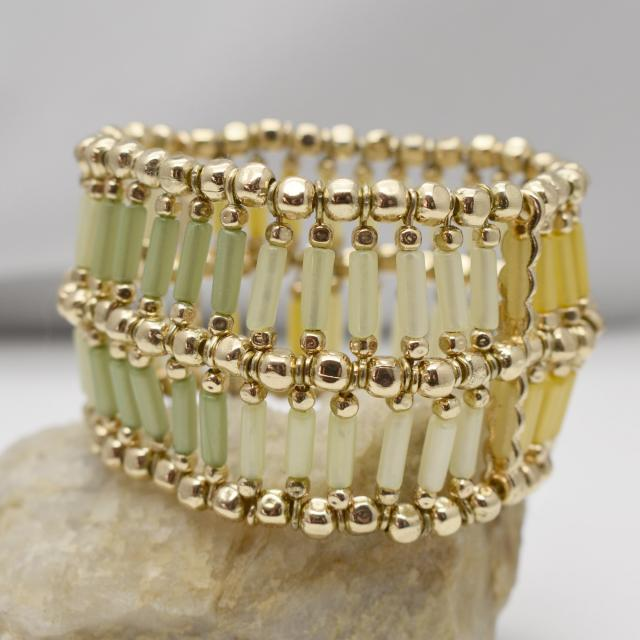 Gold Tone and Green Yellow Tube Beaded Wide Stretch Bracelet