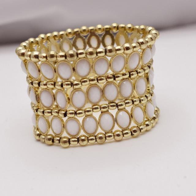 Gold Tone and White Wide Stretch Bracelet
