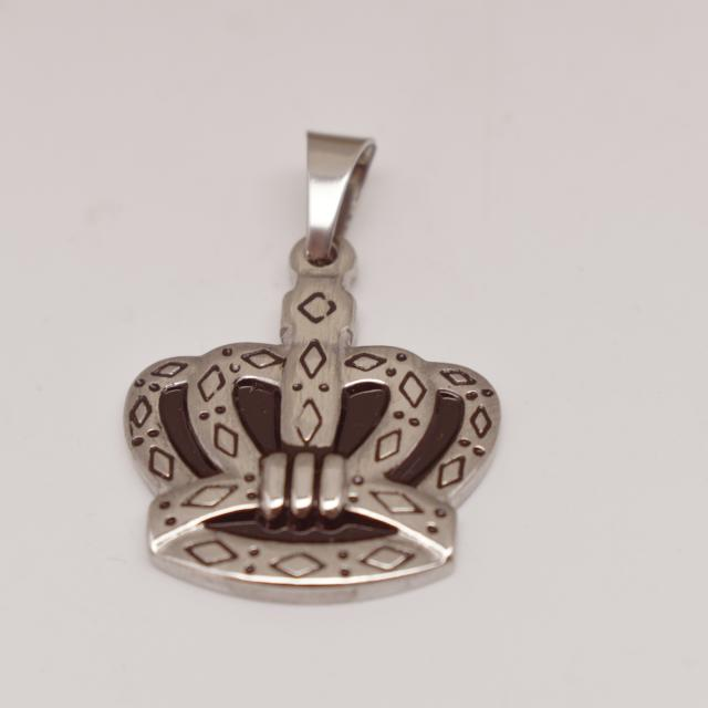 King Crown Stainless Steel and Enameled Pendant
