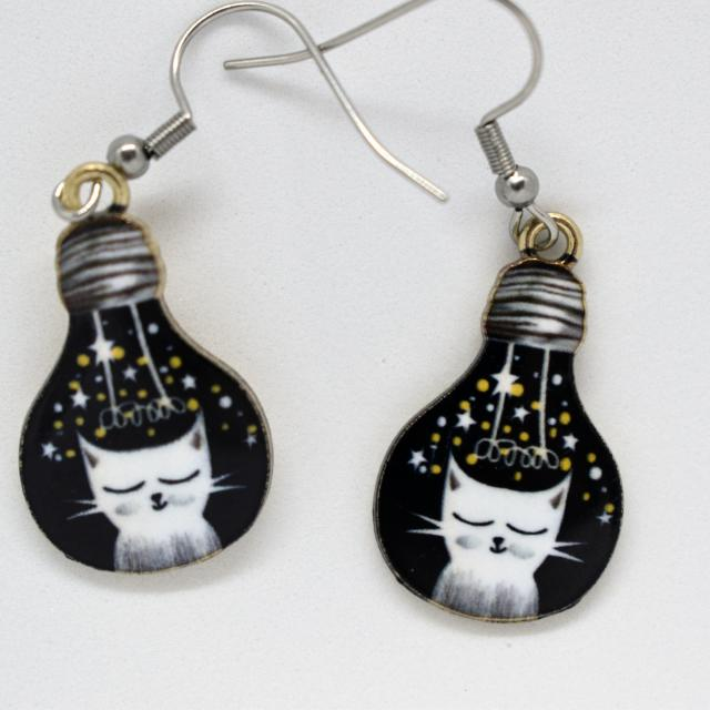 Ragdoll White Cat Drop Earrings