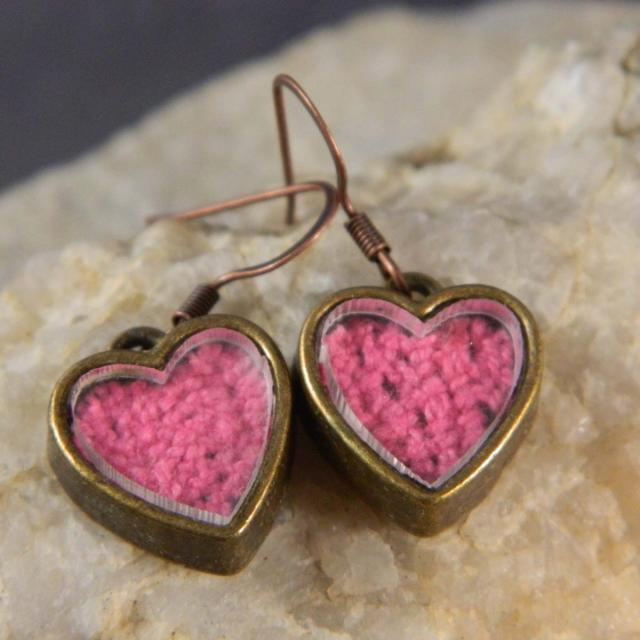 Pink Brass Heart Earrings